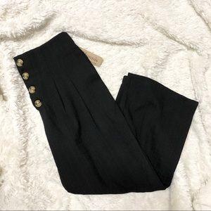Benny + Olive High Rise Button Up Black Crop Pants